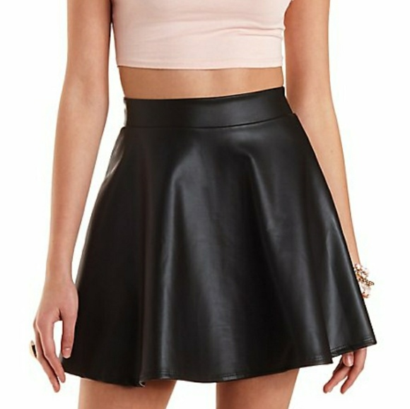 0c565e55da Charlotte Russe Dresses & Skirts - Charlotte Russe Black circle faux  leather skirt M
